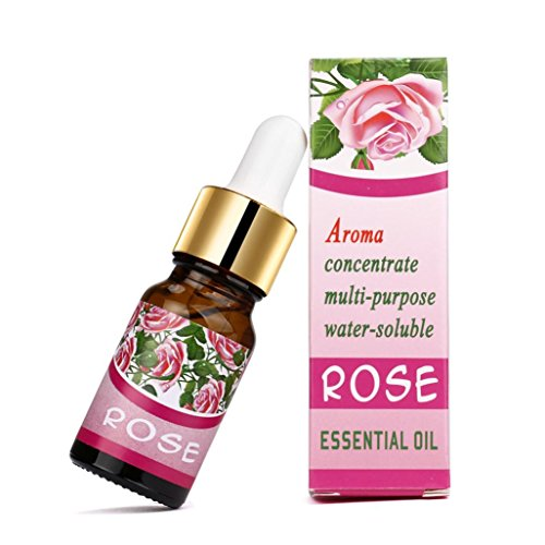 Pure & Natural Dropper Essential Oil, Lotus.flower 10ML Water Soluble Herb Oil Therapeutic Grade Aromatherapy Scent for Diffuser Humidifier / Body Massage / Skin Care (Rose)