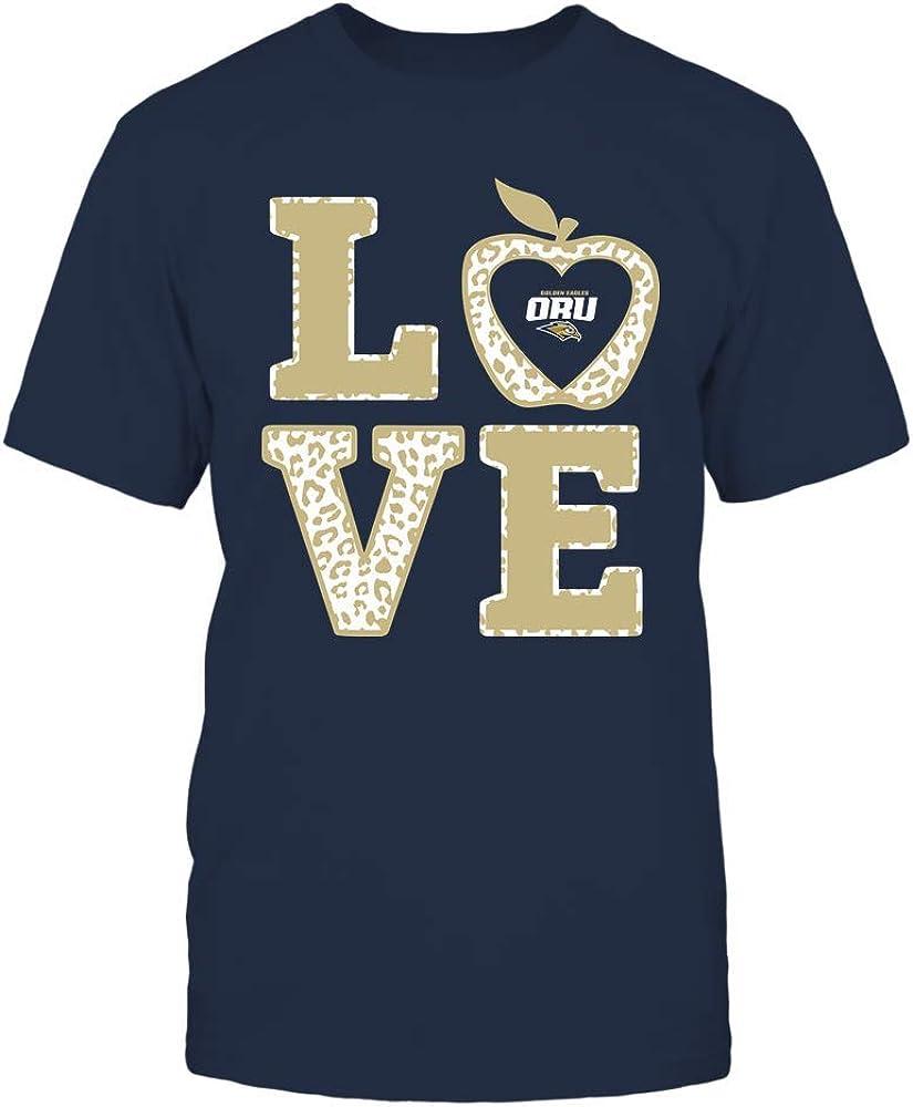 FanPrint Oral Roberts Golden Eagles T-Shirt - Teacher - Stacked Love Leopard Apple