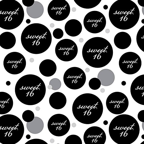 Premium Gift Wrap Wrapping Paper Roll Pattern - Birthday Party - Sweet 16 Sixteen Birthday on Black