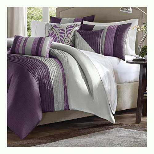 HEATAPPLY King Size Bed in Bag Comforter Set Amethyst Plum Purple Gray Stripes ()