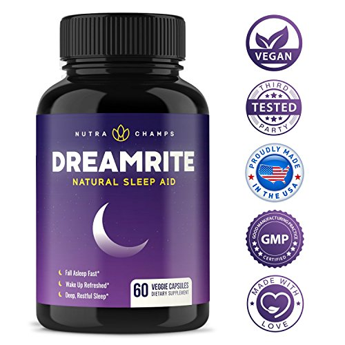 DREAMRITE Natural Sleep Aid - Non-Habit Forming Vegan Sleeping Pills - Herbal Complex with Valerian, Chamomile, Magnesium, Hops Extract, Melatonin - 60 Vegetarian Capsules - Relax & Calm Supplement