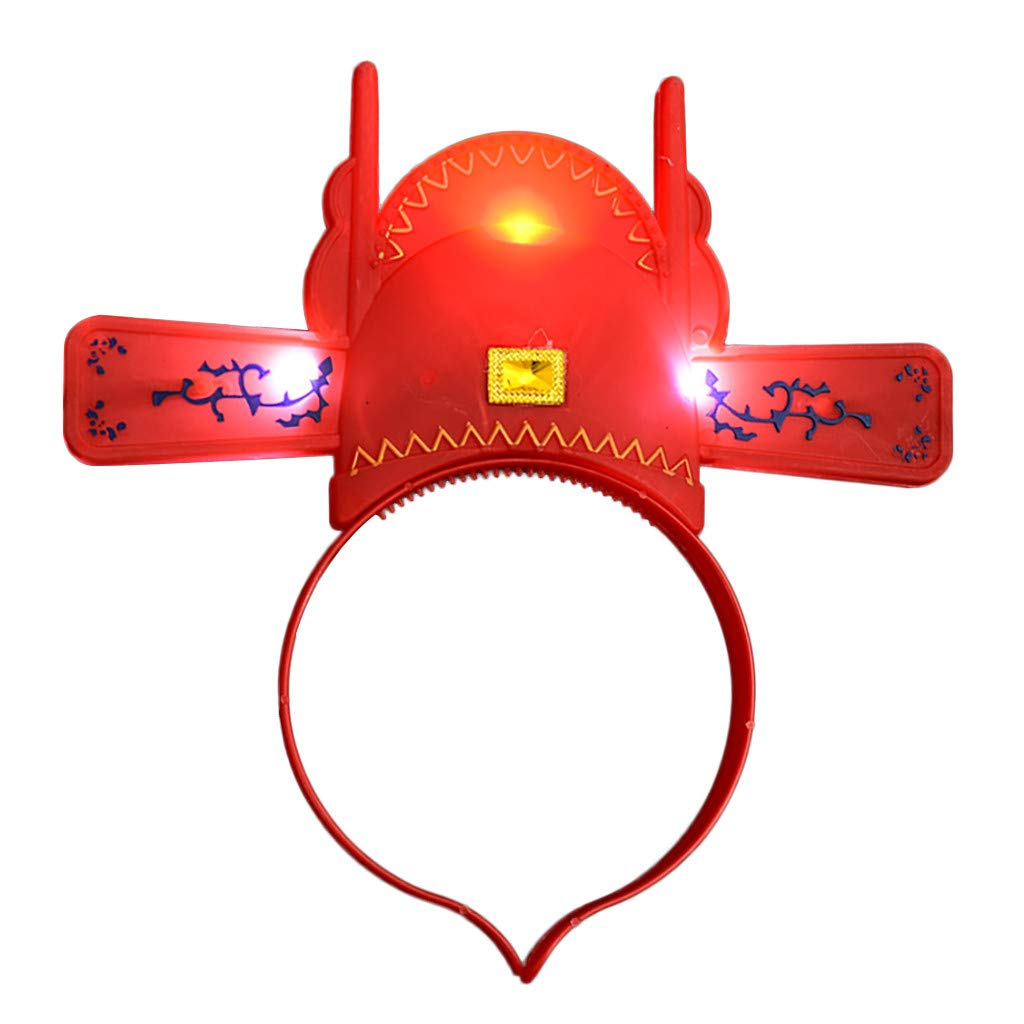 Goldweather Unisex Flash Glowing Headband Club Party Bright Hairband Lovely Head Hoop Hair Accessories (Red C)