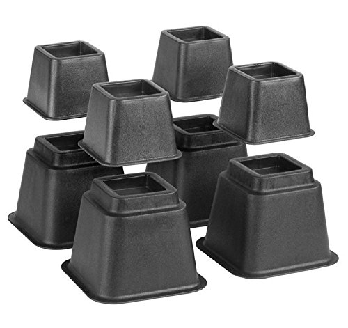Bed Risers, Adjustable Heavy Duty, 8 Piece Set, 3 or 5 or 8 Inches Tall with Multi Height Function, for Any Bed Frame/Furniture/Table Riser & Lifts/College/Dorm/Room Accessories. by Katzco