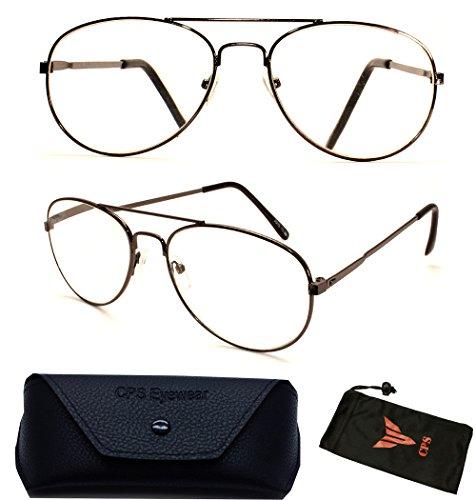 (#JO13 GM) 1 Pair Metal Aviator Large Oval Shape Retro Men & Women Reading Glasses Reader Optic Lenses (Strength: - With Aviation Readers Sunglasses