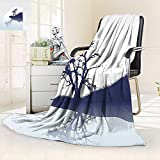 vanfan Throw Fuzzy Fleece Microfiber Blanket Lonely Tree Lake Mirror Effects Melancholy Illustration Indigo Baby Blue,Silky Soft,Anti-Static,2 Ply Thick Blanket. (60''x36'')