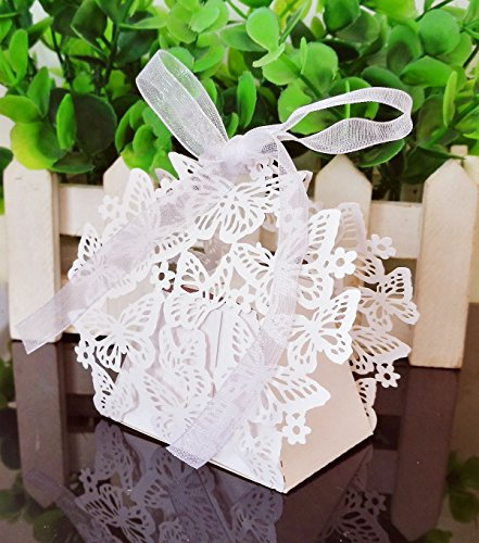 Wedding Gift Candy Sweet Boxes 50pcs Butterfly Hollow Pattern Birthday Party Bridal Shower Favor Decorative Present Box Bomboniere with Ribbon (White)