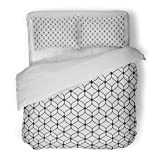 SanChic Duvet Cover Set Arabian Abstract Graphic Monochrome with Thin Wavy Lines Delicate Lattice Black White of Mesh Lace Decorative Bedding Set with Pillow Sham Twin Size