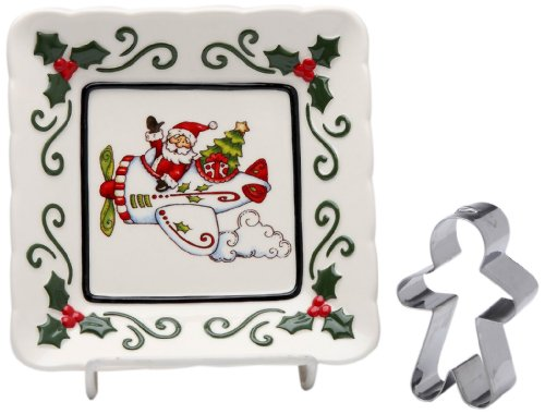 - Cosmos Gifts 10658 Santa Flying Plane Plate with Gingerbread Shaped Cookie Cutter, 5-1/2-Inch