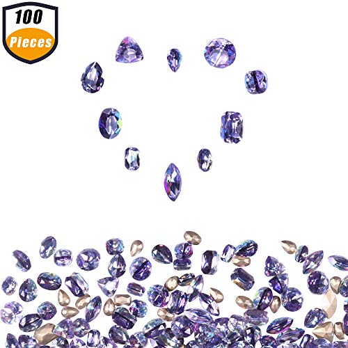 Crystal Octagon Shape - ULGAI Crystal AB Rhinestones (100pcs), Mixed Rhinestones for Crafts with Gold Plating Pointed Back, Precisely Cut AB Crystal Glass Beads for Nails, Clothes, face, Jewelry | Purple, 10 Shapes