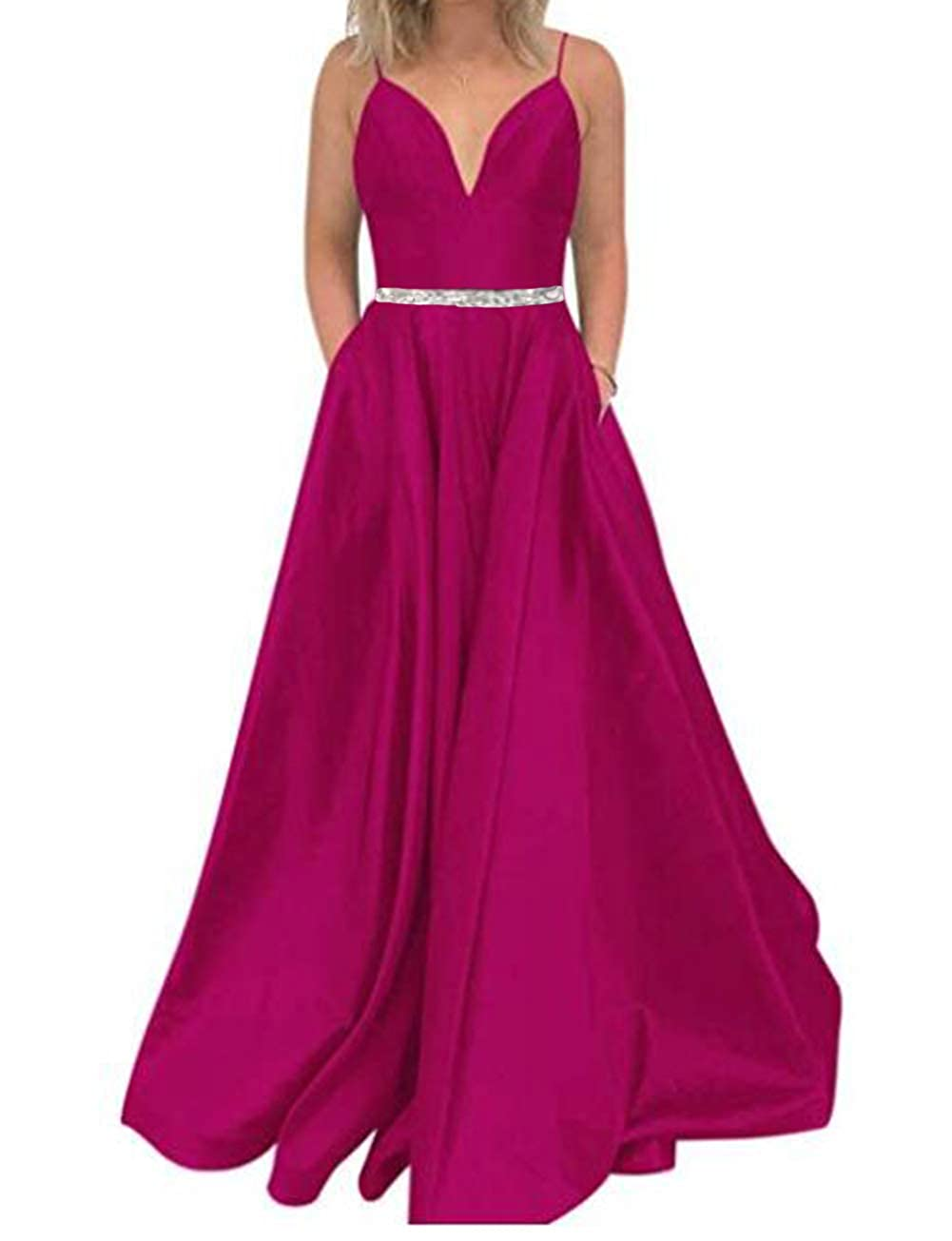 pink Red Tsbridal Women's A Line Bead Prom Dresses V Neck Satin with Pockets Evening Gown