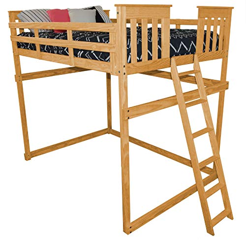 A&L Furniture VersaLoft Amish Full Pine Mission Loft Bed with End Ladder, Honey Stain