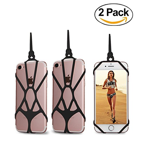 [2 Pack] AnsTOP Silicone Holder Case [Hands-free] [For Children] Sling Lanyard Necklace Wrist Strap Phone Case Cover For iPhone SE 6S 6 Plus 7 7 Plus Samsung Galaxy S8 S7 (Black)