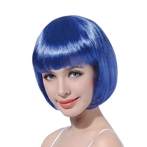 - Blue Short Bob Cosplay Flapper Wig-Synthetic Costume Women's Natural Looking Halloween Party Christmas Bangs Wigs