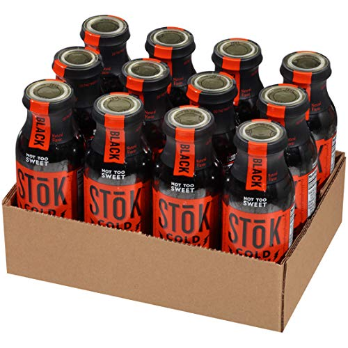 (SToK Cold-Brew Iced Coffee, Black Not Too Sweet, 13.7 Ounce, 12 Count )
