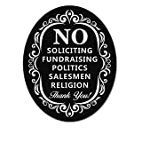 No Soliciting Sign for Home and Business | Stylish Laser Cut Oval 5″ X 4″ Heavy Duty Sintra PVC | Outdoor Indoor Use | with Door Knockers and Bell (Sintra PVC Plastic) Picture