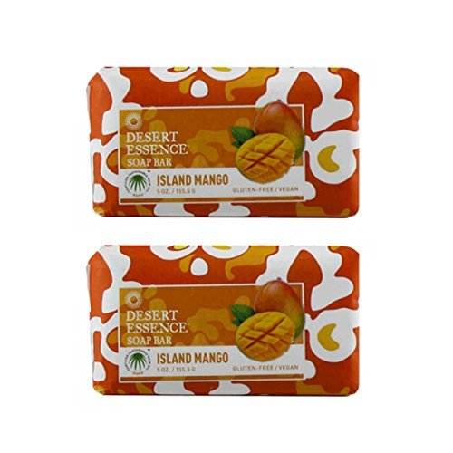 Desert Essence Island Mango Soap Bar With Vitamin-rich Mango Seed Butter, Jojoba Seed Oil and Aloe Vera, Gluten-Free/ Vegan, 5 oz. (Pack of 2)
