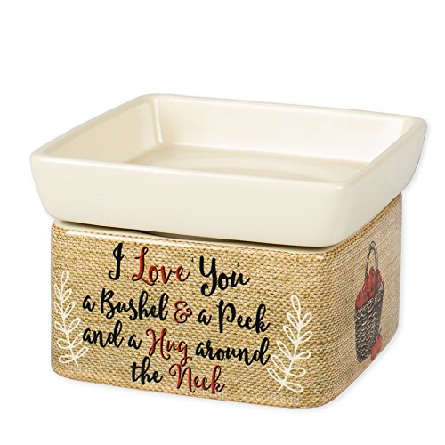 Elanze Designs I Love You A Bushel and A Peck Burlap Apples Stoneware 2 in 1 Jar Candle and Wax Tart Oil Warmer (Candle Sunflower Warmer)