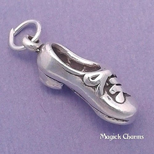 925 Sterling Silver 3-D TAP Dance Shoe Charm Dancer Pendant Jewelry Making Supply, Pendant, Charms, Bracelet, DIY Crafting by Wholesale Charms ()