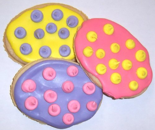 Hand Decorated Sugar Cookies - Scott's Cakes Mixed Iced Easter Egg Sugar Cookies with Mixed Polka-Dots in a 1 Pound Plastic Deli Container