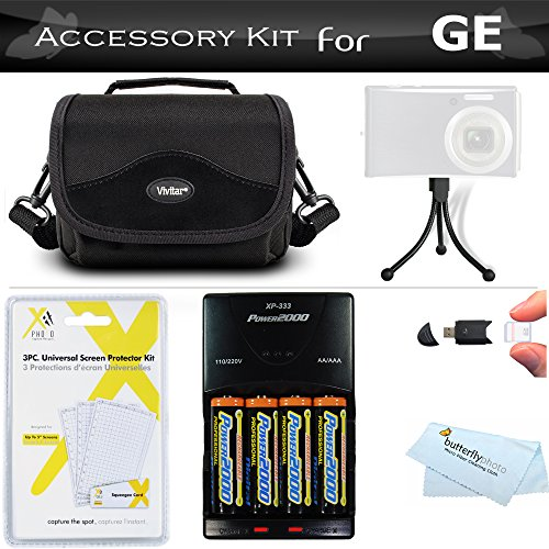 Essential Accessories Kit for GE Power Pro Series X500, X5, Power Pro X550 Digital Camera Includes + 4AA High Capacity Rechargeable NIMH Batteries and Rapid Charger + Deluxe Carrying Case + More