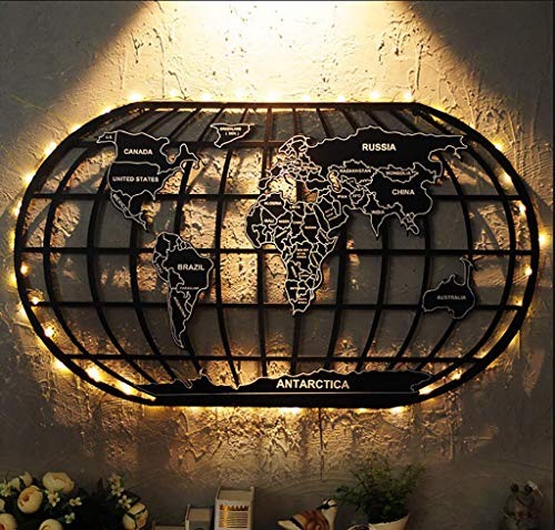 Wall Decor Pediments Hanging Decorations Industrial Wind World Map Wrought Iron Decoration Retro Bar Cafe Home Loft Creative Office Living Room Craft Art Vintage Hangings (1.2 Meter Map Light Strip) (Best Loft Conversion Ideas)