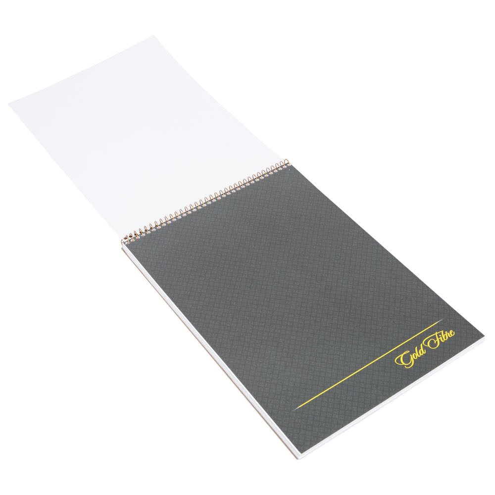TableTop King 20-813 Gold Fibre 8 1/2'' x 11 3/4'' Wide Ruled Perforated Wirebound Planner Pad with Brown Cover - 12/Pack
