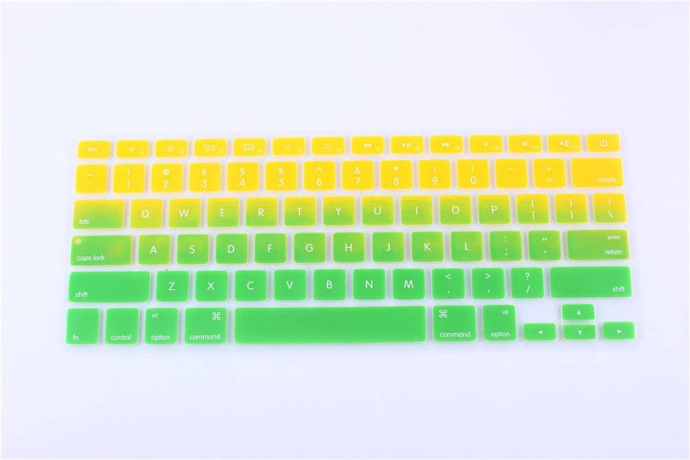 YoBest Silicone Keyboard Cover protector Skin for Apple Macbook Pro MAC 13 15 17-Yellow and Green