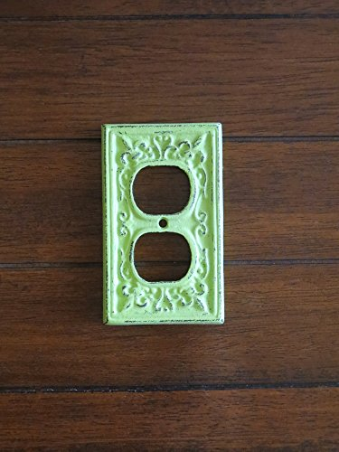 Decorative Electrical Outlet Plate Plug-in Cover Fleur de lis Cast Iron Socket Shabby Chic Style Apple Green or Pick (Apple Switchplate)