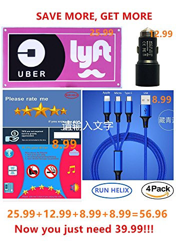 Uber Lyft LED Glow Light Up Sign LOGO Decal Sticker Accessories Set with Uber Lyft 5 Stars Rating Tips Sign for Rideshare Driver,Dual USB Car Charger with Emergency Safety Hammer,3 in 1 USB Cable