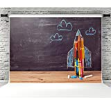 7x5ft Back to School Background for Photography Rocket Made from Pencils Photo Backdrop Studio Props Party Decoration
