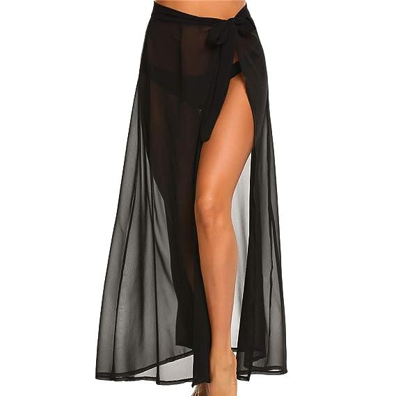 XPuing Falda de Vendaje de Mujer Chiffon Beach Vestido Largo Sexy ...