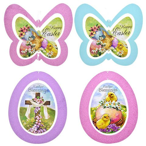Easter Glittery Spinner Decorations 11.5x10.25-in.Assorted A