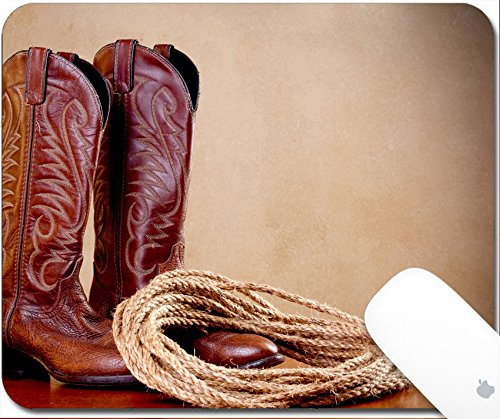 Luxlady Gaming Mousepad a horizontal image of a pair of brown cowboy boots and a coil of rope on a wooded surface with an old textured background 9.25in X 7.25in (Rope Twist Legs)