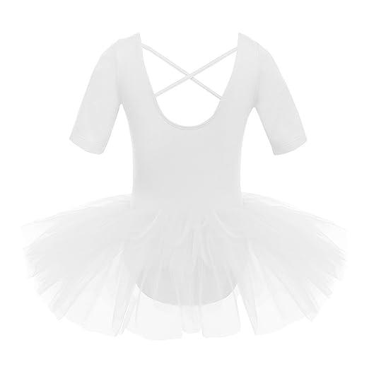 Agoky Robe de Danse Classique Bebe Enfant Fille Justaucorps Ballet  Gymnastique Tutu Robe Demoiselles d honneur Robe de Ballet Latine Manches  Courtes Tulle ... c36578d37b6