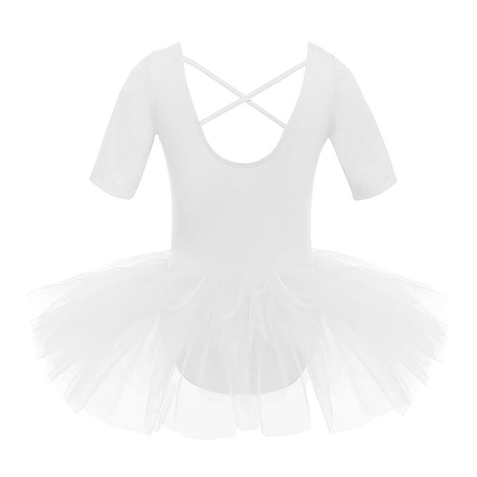 CHICTRY Vestido de Ballet Danza Tutú para Niñas Maillot Manga Corta Vestido de Princesa Fiesta con