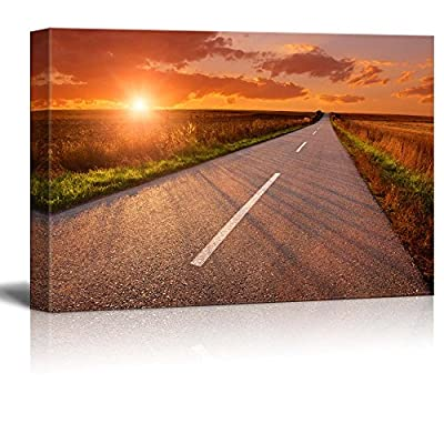 Canvas Prints Wall Art - Beautiful Scenery/Landscape Empty Asphalt Road at Sunset | Modern Wall Decor/Home Decoration Stretched Gallery Canvas Wrap Giclee Print & Ready to Hang - 32