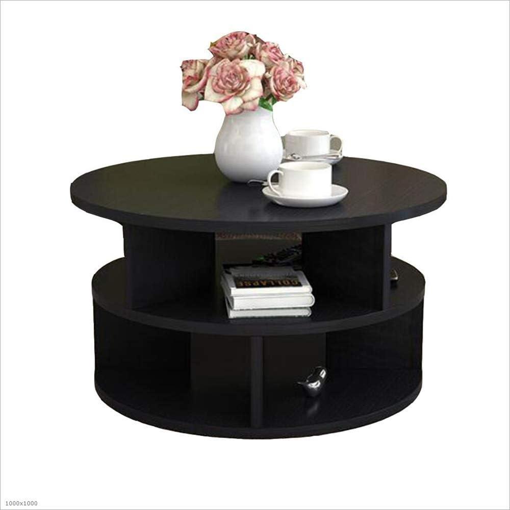 XIA Mesita de Noche, Lado Redondo Sofá Lateral Mesa de Esquina Muebles de pie Muebles de Oficina en casa Negro, Rosa, Blanco, Color Madera (2 tamaños) (Color : Negro, Tamaño : D50cm):