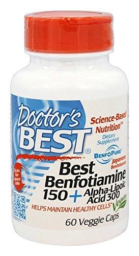 Doctor's Best - Benfotiamine/Alpha Lipoic Acid 150 mg/300 mg - 60 Vegetarian Capsules