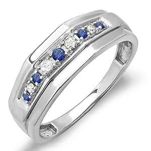 Sterling Silver Round Blue Sapphire & White Diamond Men's Wedding Anniversary Band (Size 8)