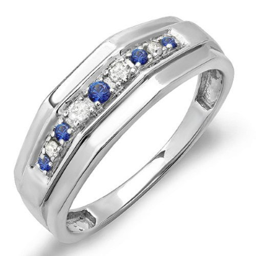 Sterling Silver Round Blue Sapphire & White Diamond Men's Wedding Anniversary Band (Size (Collection Mens Sapphire)