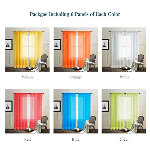 PASSENGER PIGEON 6 Pieces Rainbow Sheer Rod Pocket Top Window Panel Curtain Set.Orange, Red, White, Bright Yellow, Green,Blue.Each Panel Size 50