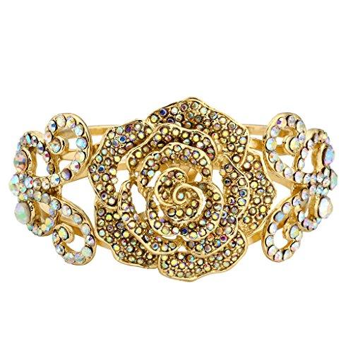 EVER FAITH Butterfly Rose Bracelet Iridescent Clear AB Austrian Crystal Gold-Tone ()