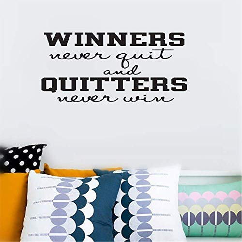 Dozili Vinyl Wall Decal Sticker Wall Art Quote Decor Wall Sticker Winners Never Quit and Quitters Never Win Inspirational Motivation Hose Home Decoration Gift Idea 40.9