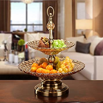 Zgflhq Doppel Glas Teller Für Obst Dekoration Der Moderne Möbel Haus  Dekoration Kreative Obstschale Color Bronzo