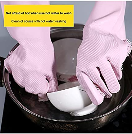 CoralHouse Magic Silicone Cleaning Gloves Dishingwashing Scrubber,Scrubbing Dish Washing Gloves for Cleaning The Home,Reusable Heat Resistant,1Pair Pink