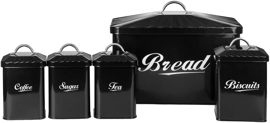 Black Metal Kitchen Bread Biscuit Tea Coffee Sugar Tin Canister Set