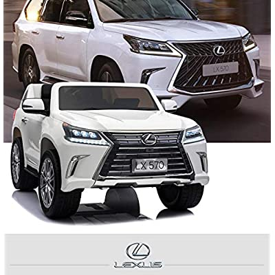 Luxury 4x4 Edition 2 Seats Lexus LX570 2X12V Kids Ride on Car, Battery Powered Toy with Doors, Music, Lights,Rubber Wheels, Leather Seat, Remote: Toys & Games