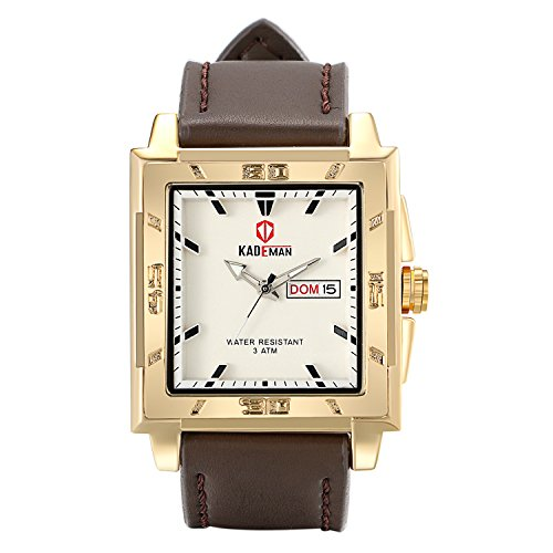 Lancardo 3Atm Waterproof Gold Tone Men's Square Large Face Leather Watch With - With Men Faces Square