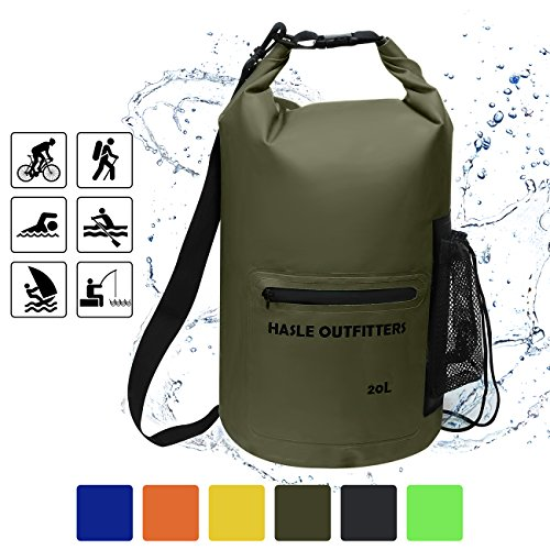 - Waterproof Dry Bag-10L/20L/30L Roll Top Compression Sack with shoulder straps and Front Zippered Pocket Keeps Gear Dry for Boating, Camping, Kayaking, Fishing,Swimming and Hiking Army Green/20L