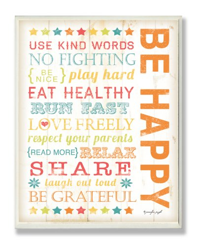 The Kids Room by Stupell Be Happy Typography Rectangle Wall Plaque, 11 x 0.5 x 15, Proudly Made in USA Happy Holidays Wall Plaque